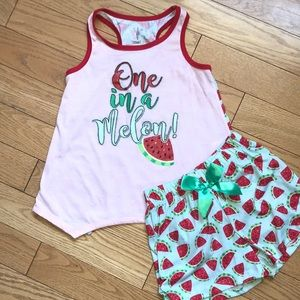 "🌼3/$18 ""One in a Melon"" Max & Olivia pajama set"